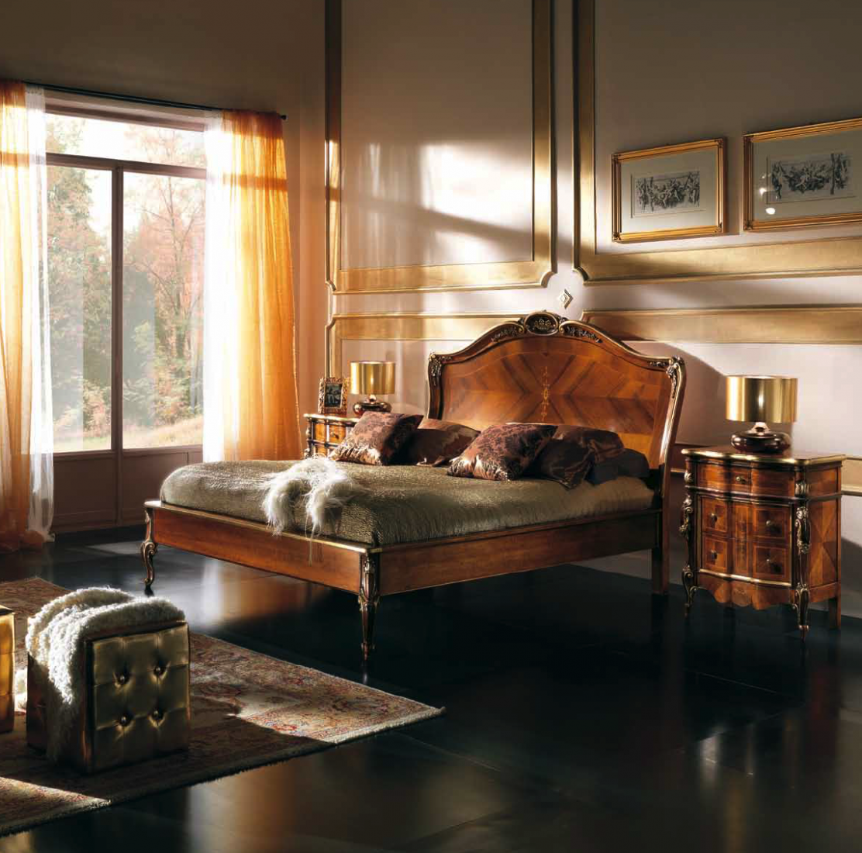 Letto sagomato in noce mobili in stile linea intagliata - Mobili in stile barocco ...