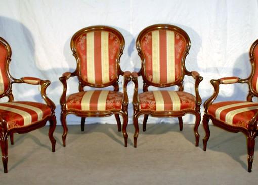 4 poltrone originali in mogano stile Luigi Filippo
