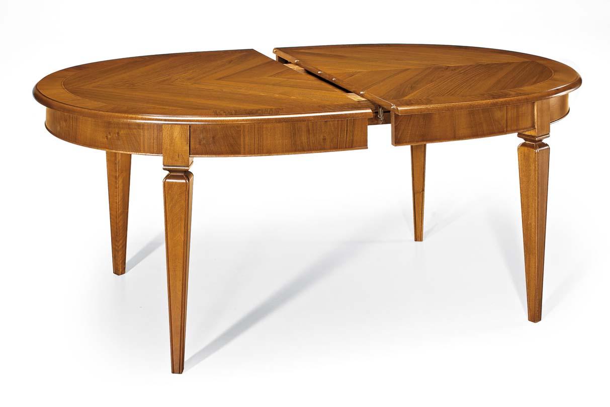 Tavolo ovale allungabile placcato listellare mobili in - Tavolo ovale allungabile ...