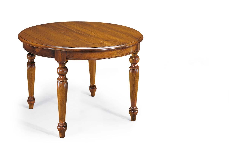 Tavolo rotondo allungabile massello mobili in stile for Tavolo allungabile rotondo