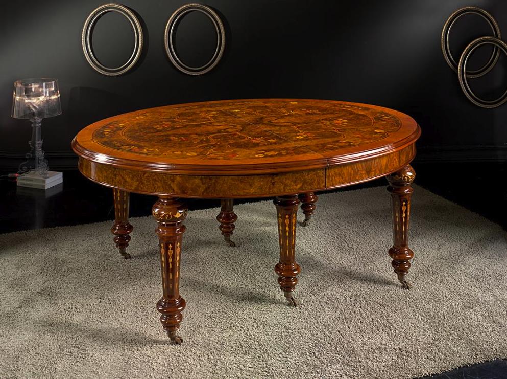 Tavolo ovale a manovella inglese con intarsio fiori in - Mobili a persiana ...