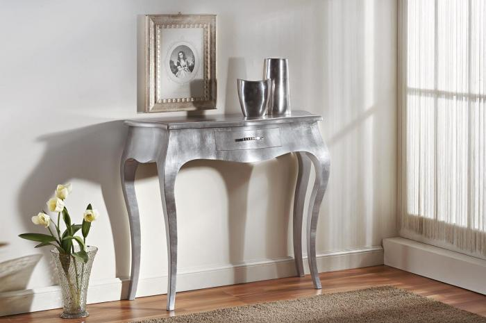 Consolle 1 cassetto foglia argento mobili in stile - Muebles entraditas ikea ...