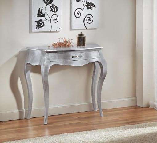 Consolle 1 cassetto foglia argento mobili in stile for Consolle argento economica