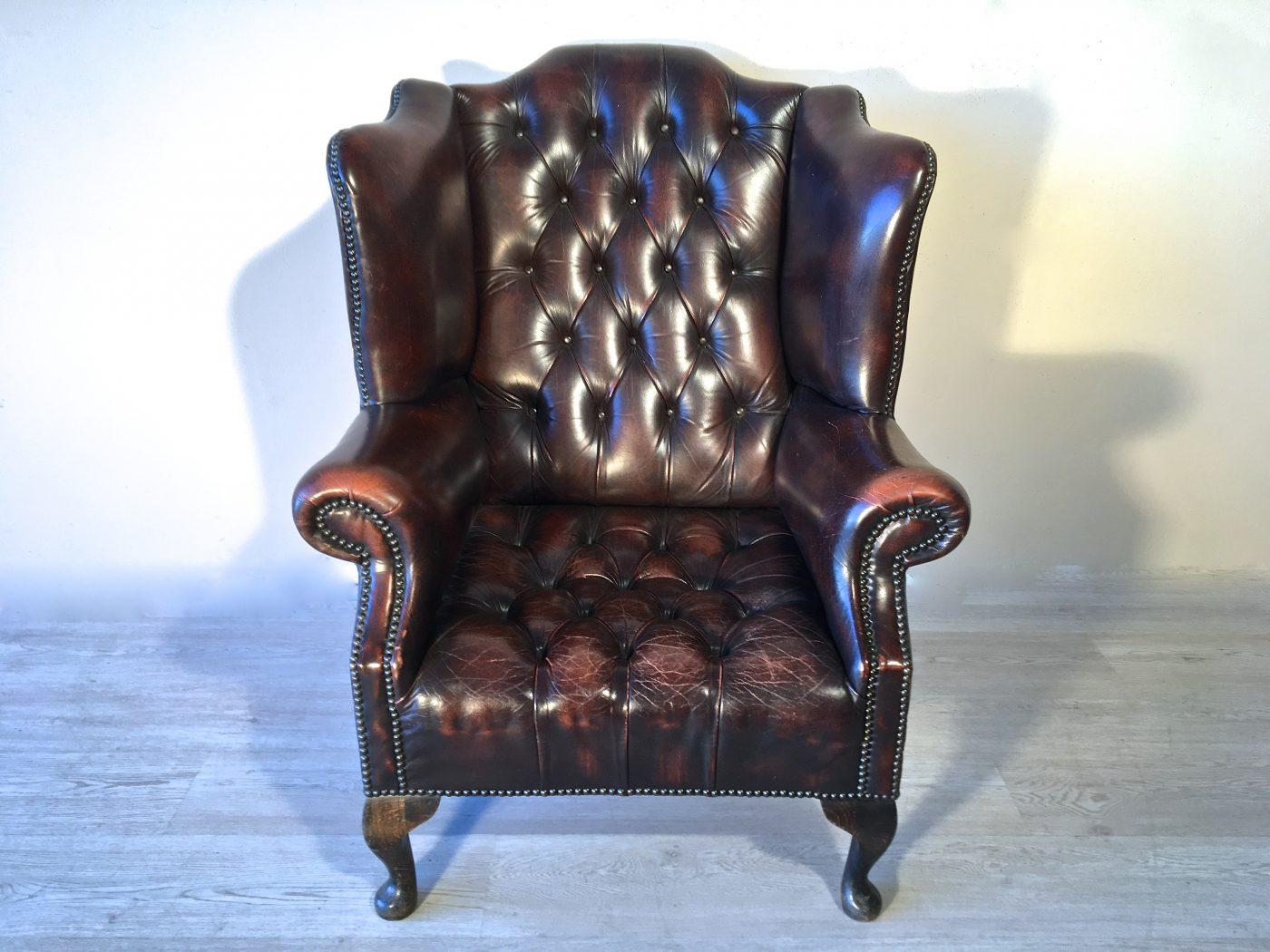 Poltrona Queen Anne originale inglese in pelle - Antiquariato e ...