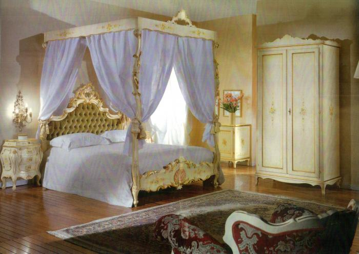 Letto a baldacchino barocco laccato stile veneziano • Mobili in ...