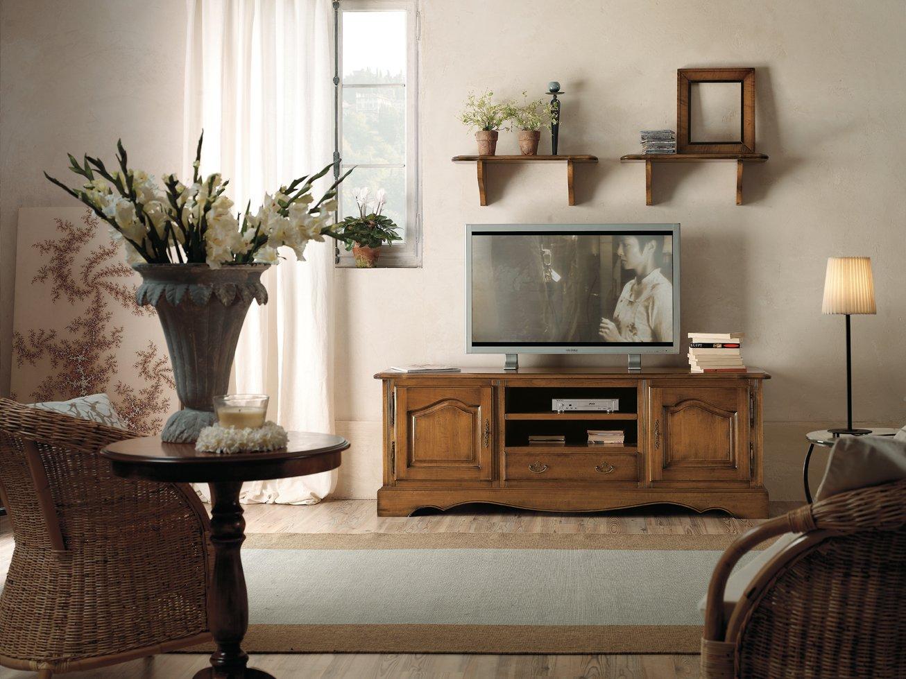 Porta tv 1 con 2 ante e 1 cassetto antiquariato e mobili for Arredamento soggiorno stile provenzale