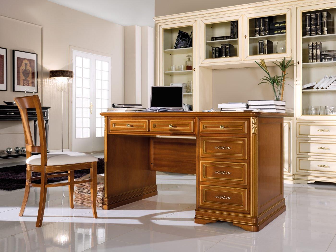 Scrivania 6 cassetti mobili in stile linea la maison for Mobili 6 cassetti