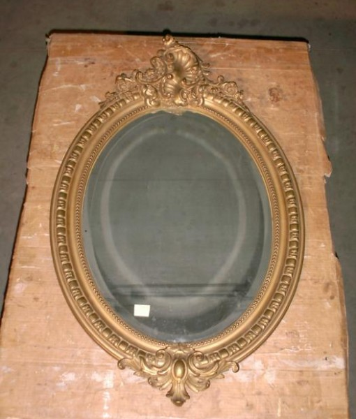 Specchiera ovale originale in foglia oro