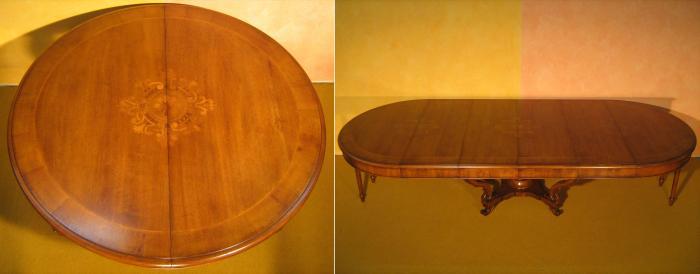 Tavolo a cestello allungabile con intarsio a rosoni for Tavolo legno vecchio usato
